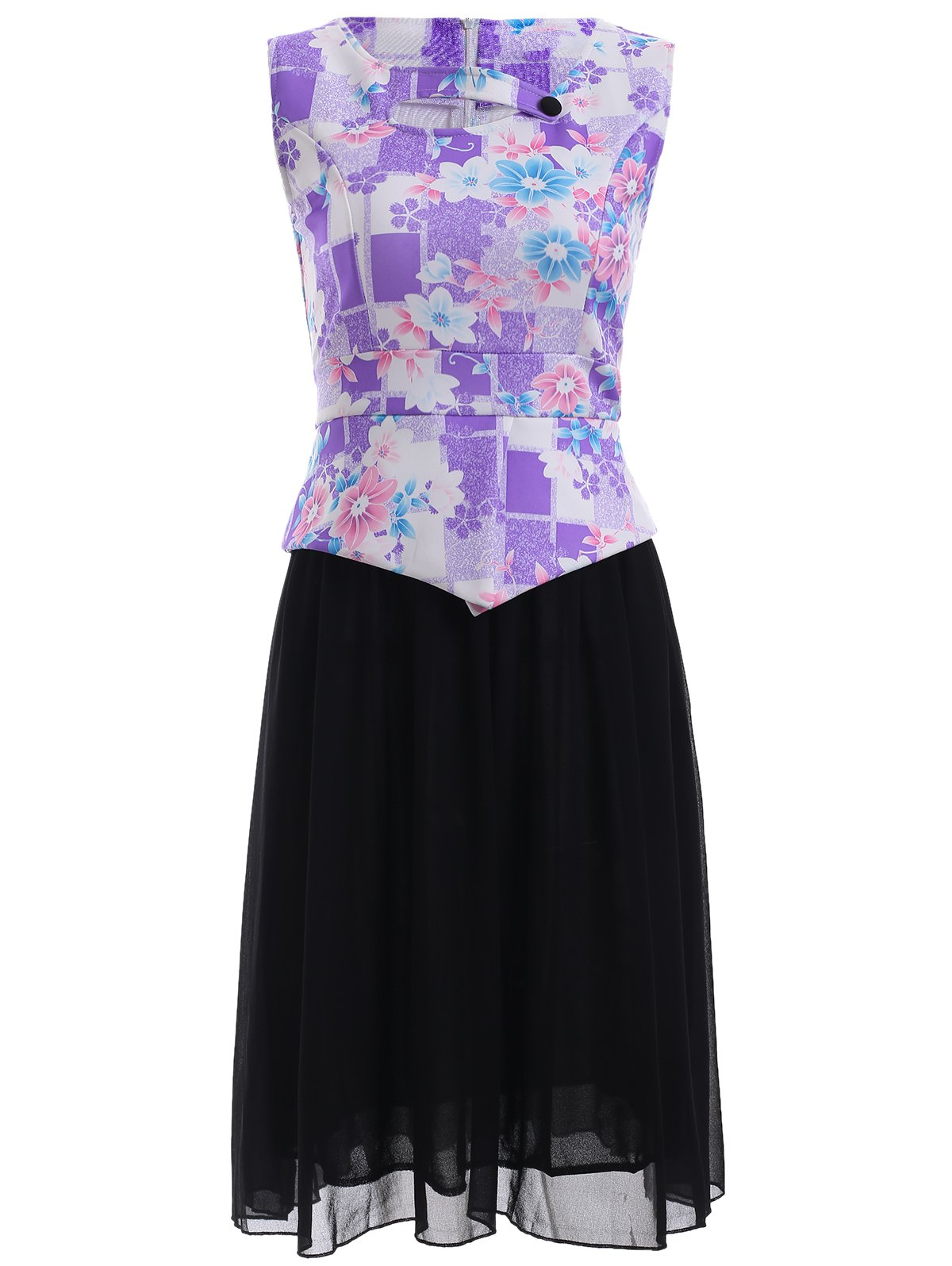 False Two Piece Splicing Floral Print Dress - PURPLE 5XL