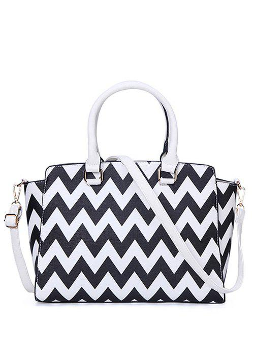 Trendy Chevron Print and PU Leather Design Women's Tote Bag - BLACK