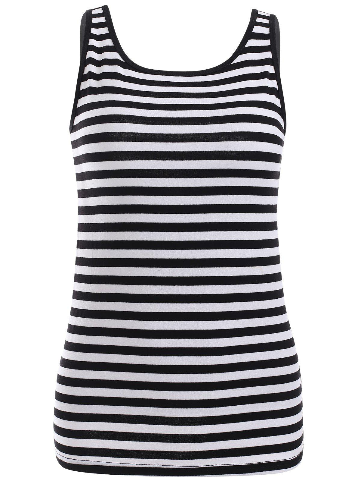 Preppy Black and White Stripe Slimming Tank Top - STRIPE ONE SIZE