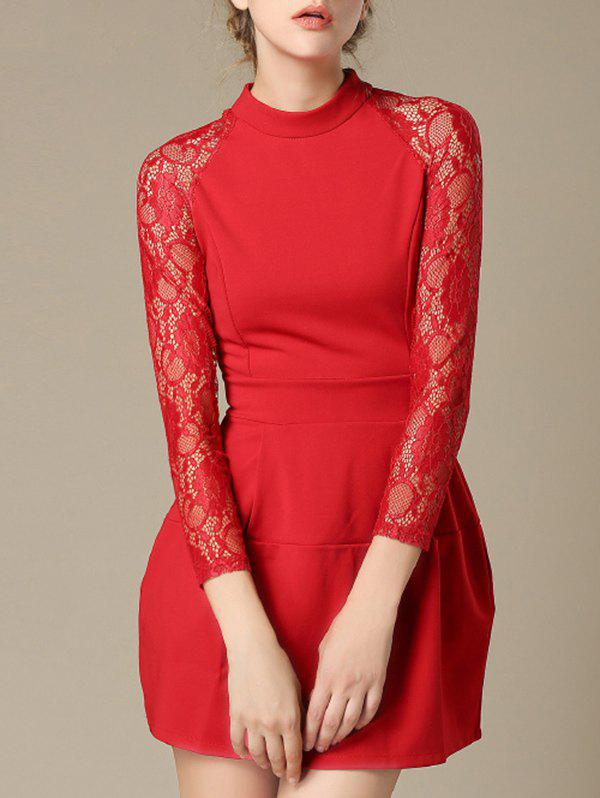 Charming Lace Splicing Pocket Design Women's Dress - RED XL