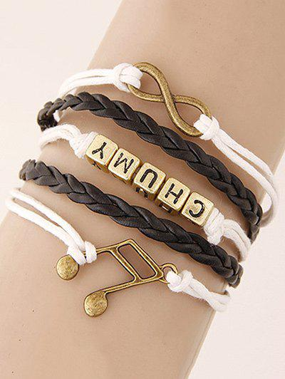Infinity Musical Note Letters Braided Bracelet - COLORMIX