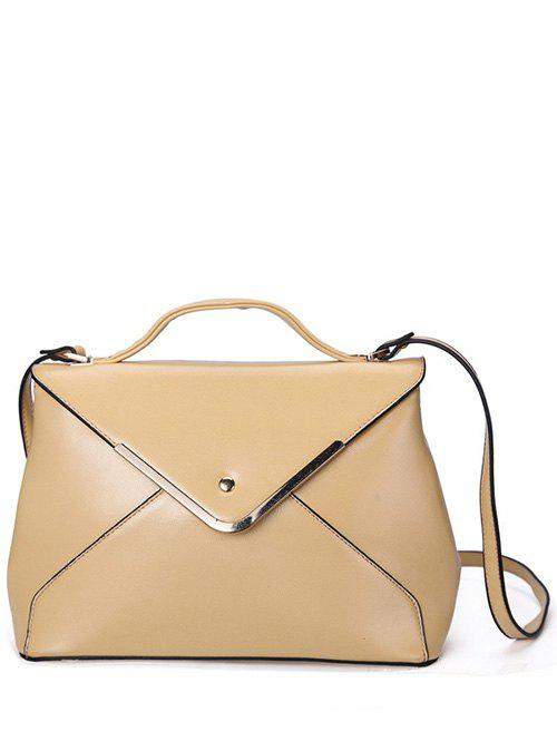 Concise Metal Trim and PU Leather Design Women's Tote Bag - APRICOT