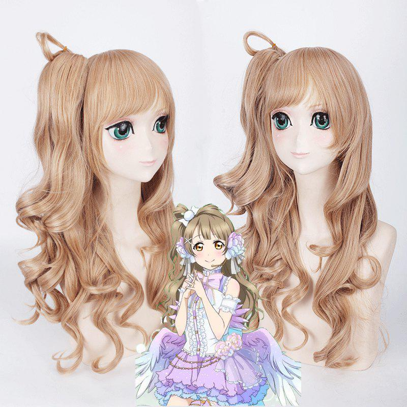 Fluffy Wave Flaxen Long Wig with Ponytail Love Live White Day Kotori Minami Cosplay wholesale dm32056 lacus clyne cute pink long anime cosplay wig with 2 ponytail discount35