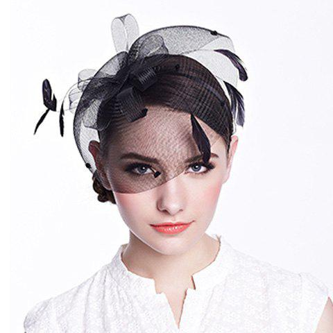 Gorgeous Feather Floral Nets Party Hairband For Women - BLACK