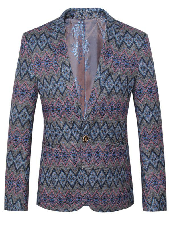 Lapel One Button Design Plus Size Argyle Pattern Long Sleeve Men's Blazer - COLORMIX 4XL