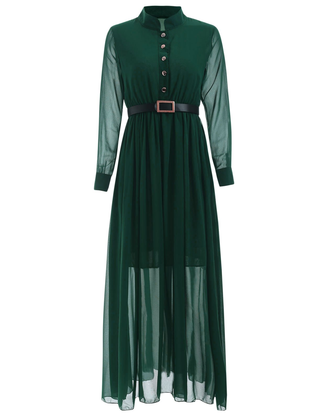 Stand Collar Long Sleeve Belted Dress - BLACKISH GREEN XL