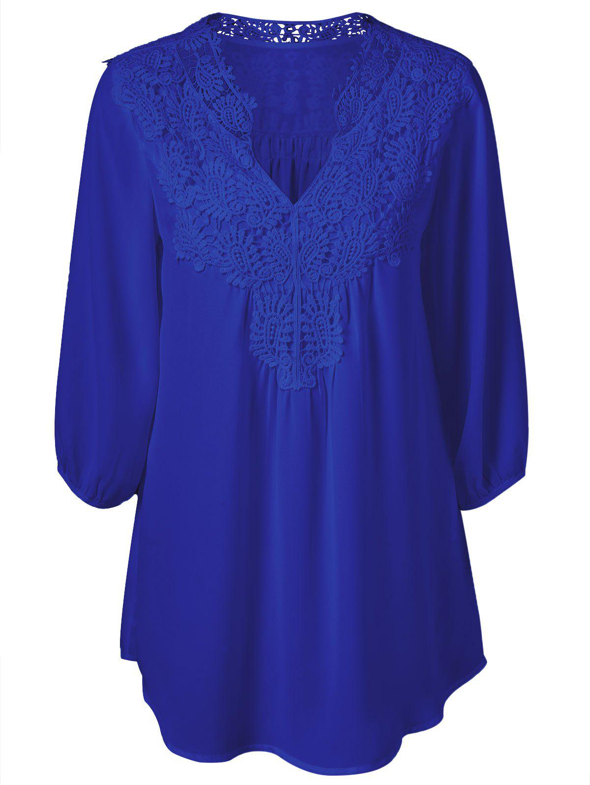 Plus Size Sweet Crochet Spliced Tunic Blouse - SAPPHIRE BLUE 2XL