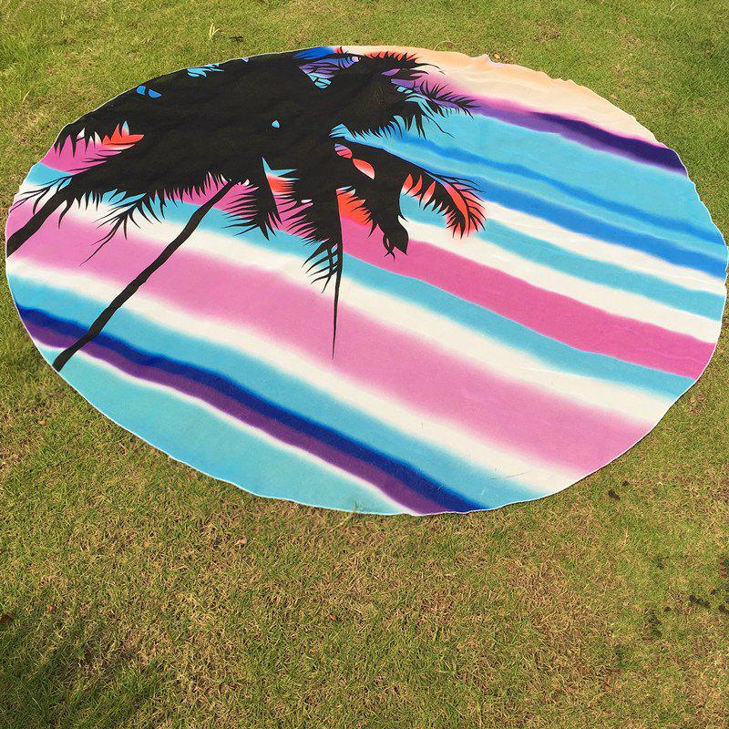 Hawaii Style Sea Side Sunshine Bikini Boho Swimwear Stripe Palm Pattern Chiffon Round Beach Throw - AZURE ONE SIZE