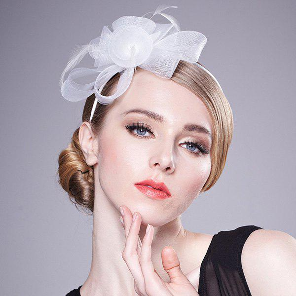 Charming Flower Wedding Jewelry Party Hairband For Women - WHITE