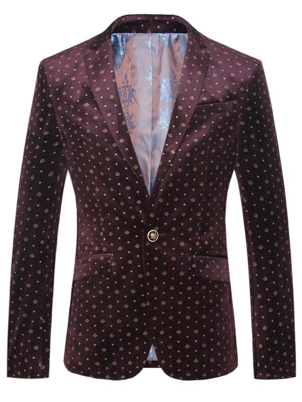 Lapel One Button Design Plus Size Golden Stars Pattern Long Sleeve Men's Blazer - WINE RED 4XL