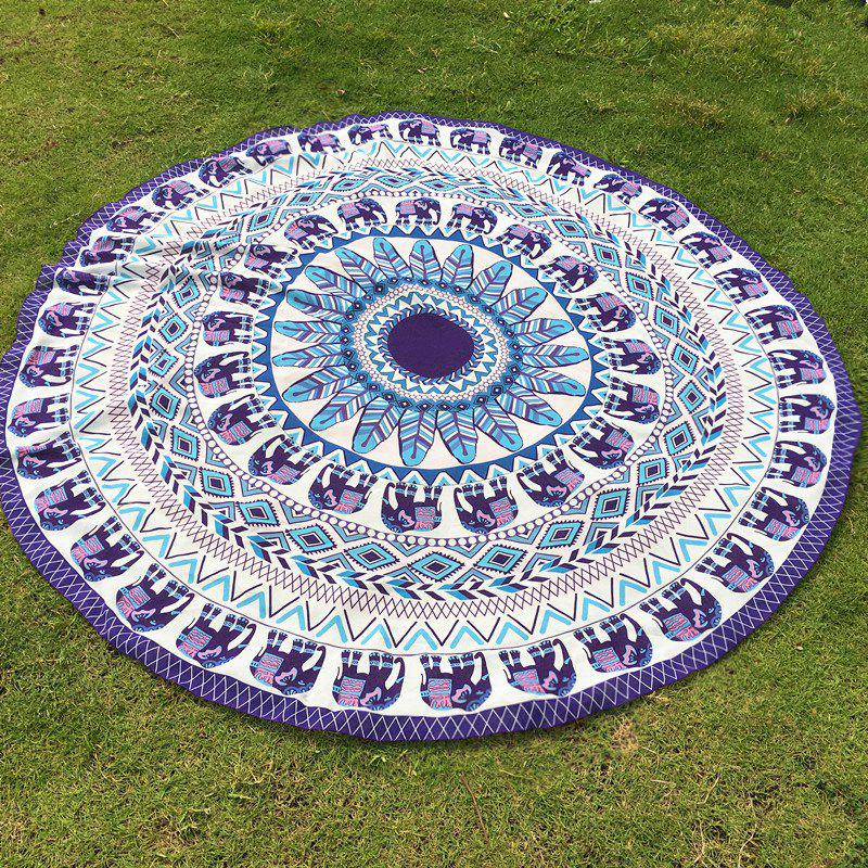 Indian Retro Style Bikini Boho Swimwear Mandala Elephant Pattern Chiffon Round Beach Throw - PURPLE ONE SIZE