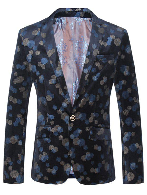 Lapel One Button Design Plus Size Color Block Floral Pattern Long Sleeve Men's Blazer