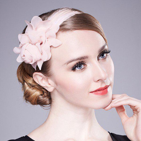 Charming Blossom Feather Party Hairband For Women - LIGHT PINK
