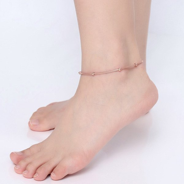 Sweet Solid Color Bead Snack Chain Anklet For Women - ROSE GOLD