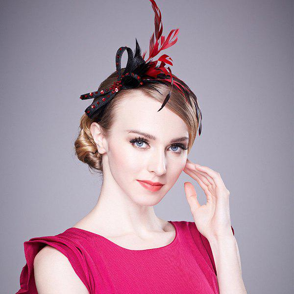 Chic Rhinestone Feather Bowknot Party Hairband For Women - RED/BLACK