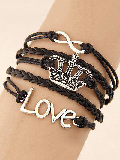 Crown Infinity Braided Bracelet - BLACK