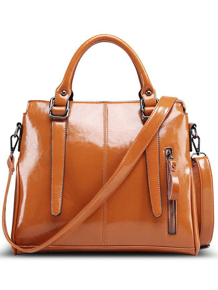 Fashionable Straps and Solid Color Design Women's Tote Bag -  BROWN