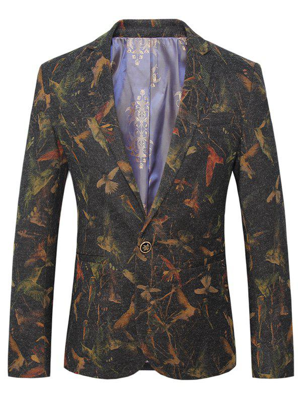 Lapel One Button Design Plus Size 3D Birds Pattern Long Sleeve Men's Blazer