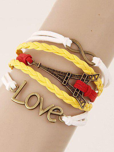 Vintage Eiffel Tower Love Braided Bracelet - COLORMIX