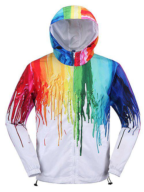 Different Color Paint Dripping Zip Up Men's Hooded Jacket - WHITE XL