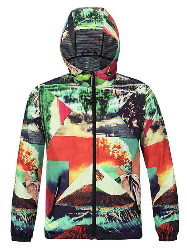 Fashion 3D Scenery Print Hooded Long Sleeves Jacket For Men