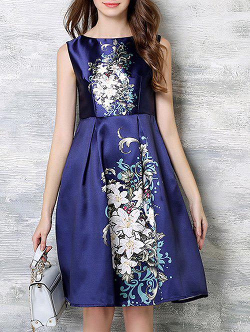Stunning High-Waist Floral Dress - DEEP BLUE 3XL