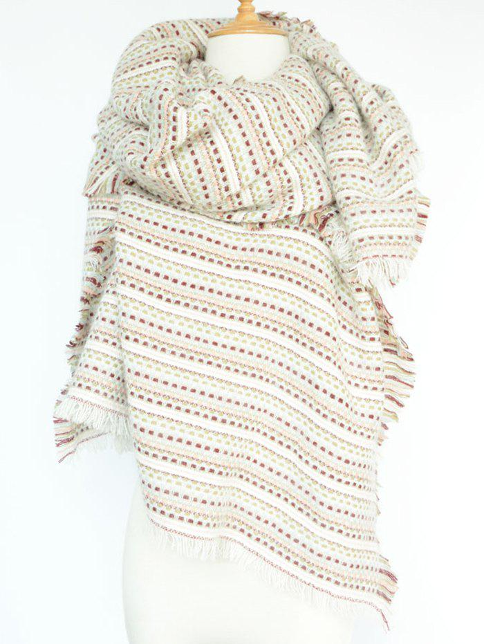 Stylish Small Plaid and Stripe Design Fringed PashminaAccessories<br><br><br>Color: WHITE