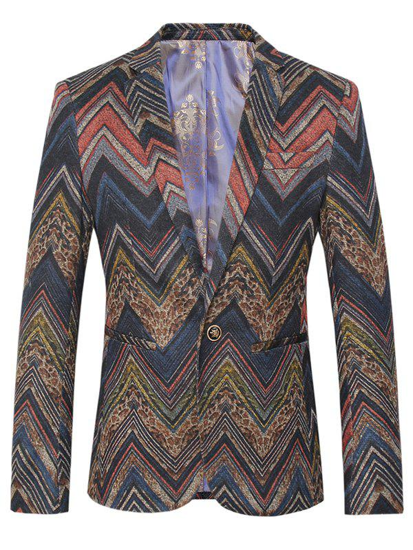 Lapel One Button Design Plus Size Color Block Waviness Pattern Long Sleeve Men's Blazer - COLORMIX 4XL