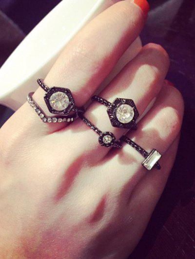 Punk Style Etched Rhinestone Hexagon Geometric Ring Set For Women -  WHITE