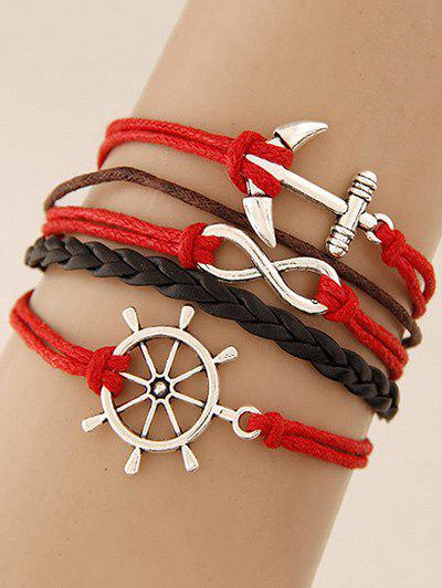 Rudder Anchor Infinity Layered Bracelet - RED