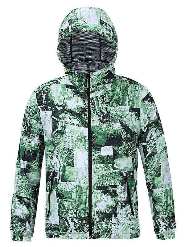 Refreshing 3D Print Hooded Long Sleeves Green Jacket For Men - GREEN 2XL