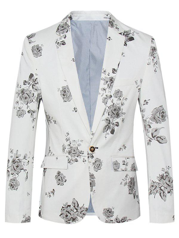 Lapel One Button Design Plus Size Floral Pattern Long Sleeve Men's Blazer - WHITE 4XL