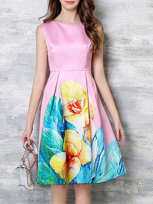 Charming Blossom Bright Color Dress - PINK 3XL