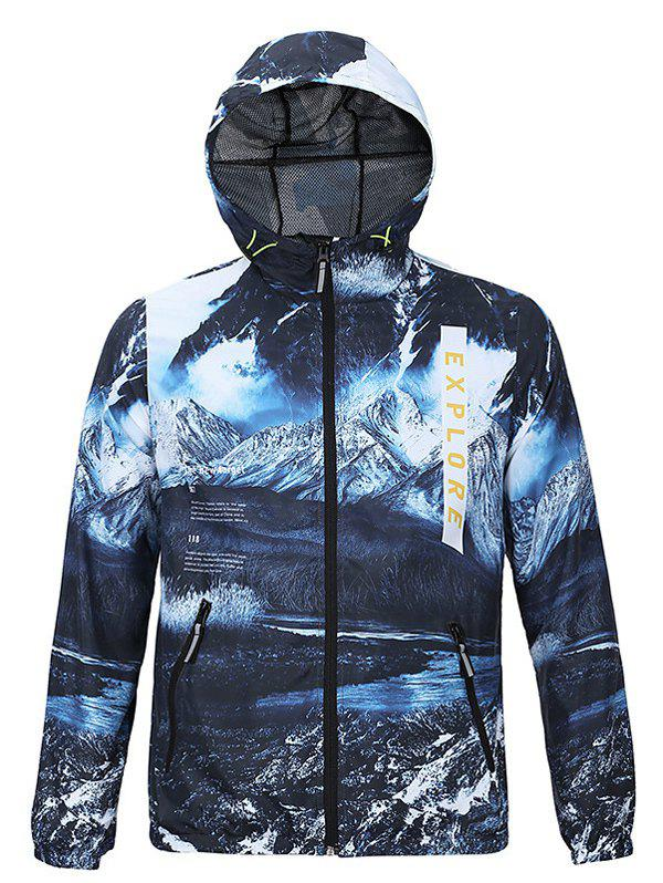 New Look 3D Print Hooded Long Sleeves Jacket For Men - BLUE 2XL
