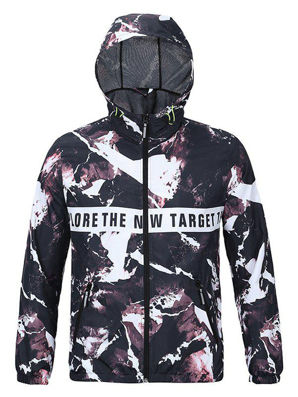 Active 3D Print Hooded Long Sleeves Jacket For Men - COLORMIX 2XL