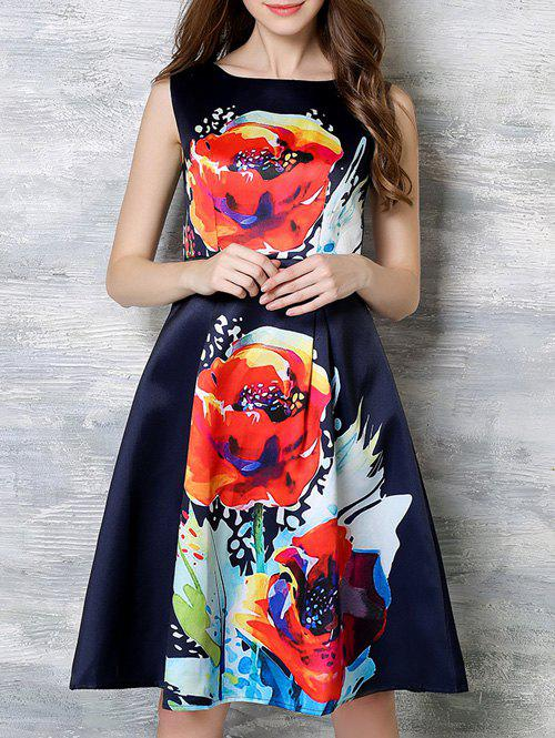 Fashionable Zippered Floral Print Dress