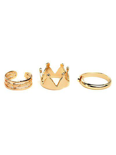 Crown Gold Plated Ring Set - GOLDEN