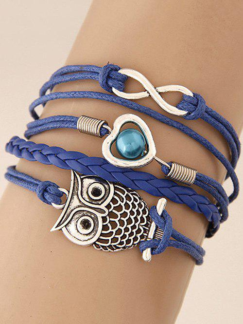 Infinity Heart Owl Braided Bracelet love heart hollow out infinity bracelet watch