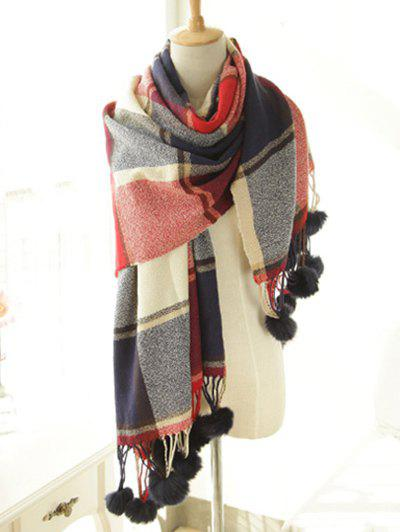 Stylish Plaid Pattern Pompon Pendant Shawl Wrap Pashmina - CADETBLUE