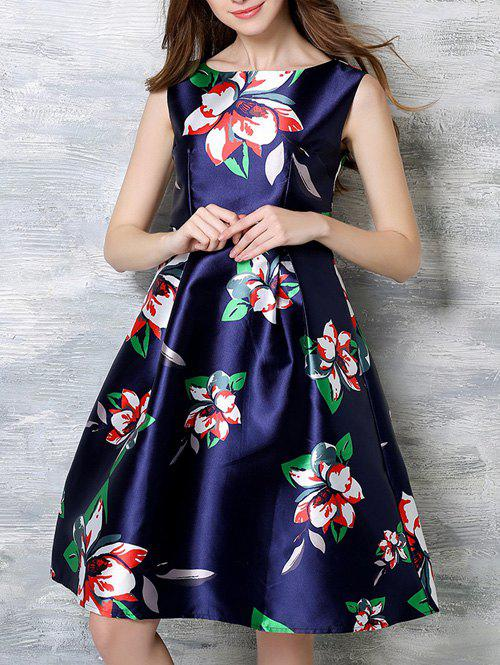 Trendy Floral Pattern Concealed Zipper Dress - DEEP BLUE 3XL