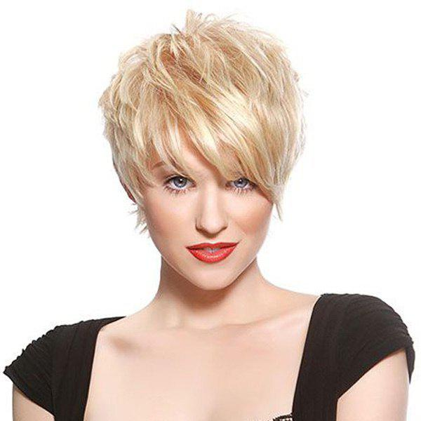Fashion Short Fluffy Oblique Bang Women's Human Hair Wig - GOLDEN BROWN/BLONDE