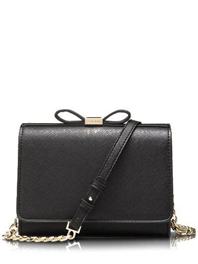 Elegant Bowknot and Solid Color Design Women's Crossbody Bag - BLACK