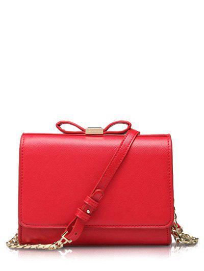 Elegant Bowknot and Solid Color Design Women's Crossbody Bag - RED