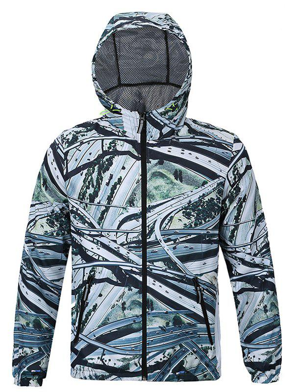 Aerial View of Roads Print Hooded Long Sleeves Jacket For Men - LIGHT GREEN 2XL