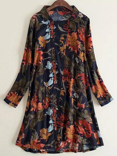 Oversized Ladylike Inclined Button Fly Floral Dress - BLUE/RED 3XL