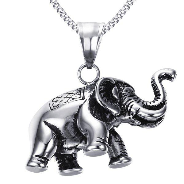 Unic Silver Elephant Shape Pendant  For Men - SILVER