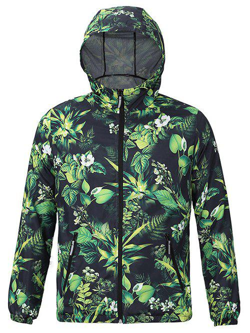 Chic Plants Print Hooded Long Sleeves Jacket For Men - GRASS GREEN 2XL