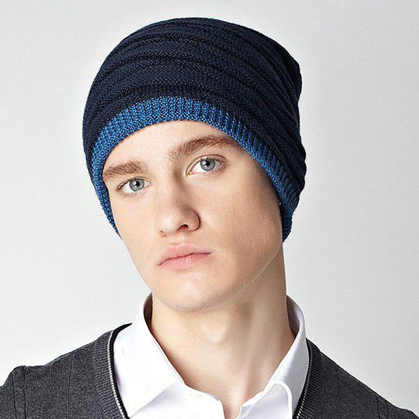 Stylish Wavy Stripe Design Winter Warm Men's Knitted Beanie -  CADETBLUE