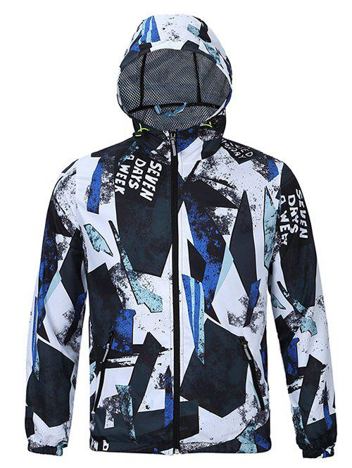 Chic Glass Shards Print Hooded Long Sleeves Jacket For Men - BLUE/BLACK 2XL