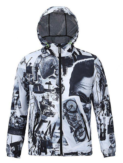 Chic Photos Print Hooded Long Sleeves Jacket For Men - WHITE/BLACK 2XL